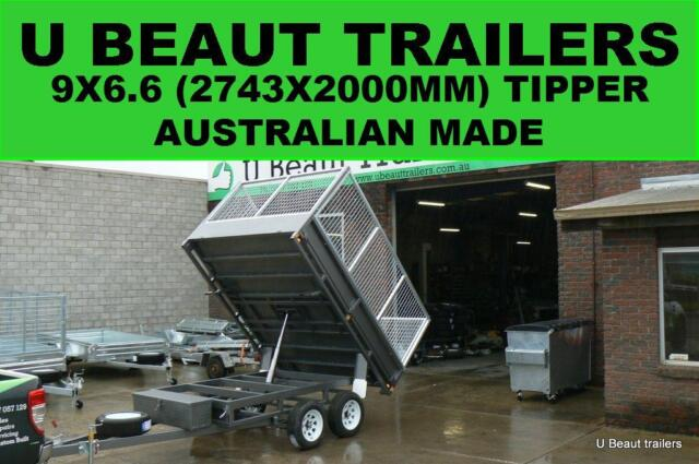 Hydraulic tipper tandem trailer flat top with cage