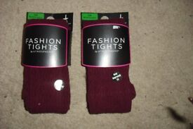 SIZE S/M BRAND NEW 2 PAIRS OF BURGUNDY THICK BURGUNDY FASHION TIGHTS