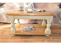 Restored handmade solid country style pine coffee table painted in Annie Sloan.