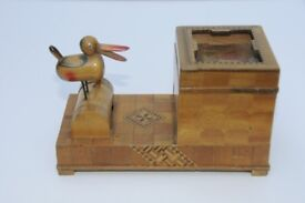 Vintage 1925 to 1940's Japanese Marquetry Hand Painted Novelty Wooden Bird Cigarette Dispenser. GUC