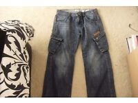 """AGE 13-14 PAIR BOYS """"BENCH"""" DENIM JEANS WITH SIDE POCKETS + ON LEGS"""