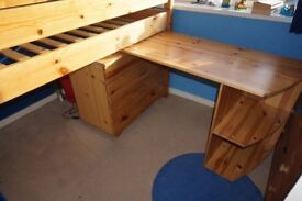 Thuka mid sleeper bed with chest of drawers and desk