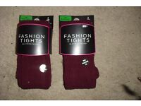 SIZE S/M 8-12 NEW 2 PAIRS OF BURGUNDY THICK TIGHTS FOR THE WINTER