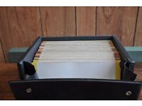 Collection of 48 mostly 70's vinyl singles in a storage case, Thatcham, Berkshire