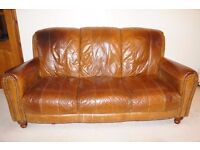 Real leather 3-seater sofa - pet-free home - collection only - reduced to £100