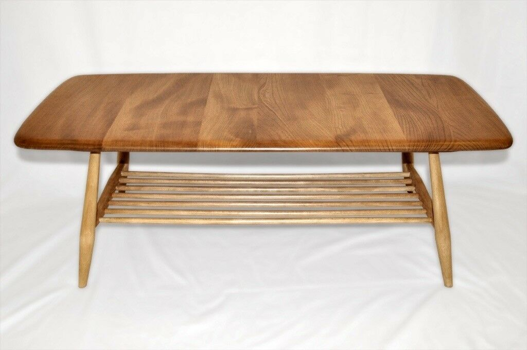 Vintage Retro 60 S Ercol Windsor Coffee Table With Rack As New Fully Renovated