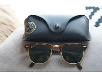 Ray-Ban Clubmaster Classic Sunglasses Tortoise Acetate, Green Classic