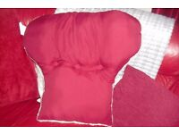 NEW NEVER USED DARK RED/FLEECE BACK REST FILLED CUSHION