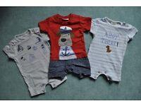 3 NEXT baby boy bodysuits 0-1 month