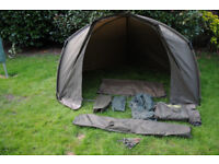 Trakker Tempest Brolly and Wrap, plus groundsheet and insect panel