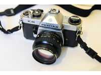 PENTAX KM SLR with PENTAX A 1:1.4 50mm LENS and STAR-D 1:2.8 28mm MACRO PK LENS MOUNT