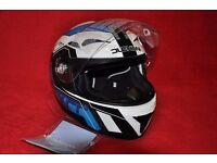 DUCHINNI MOTORCYCLE HELMET D405 XRR WHITE/BLUE SIZE M