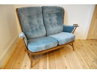 Vintage retro 60's Ercol Evergreen Two Seater Sofa in golden dawn - Free Local Delivery