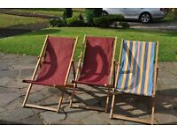 Wooden deckchairs