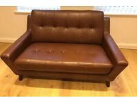 NEW TWO G Plan Vintage Fifty Three Oak Brown Leather Sofas x2