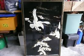 "Large Black Lacquer/mother of pearl wall hanging 24""x36"""