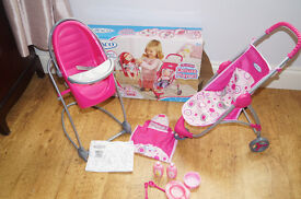 Graco deluxe playset, 4 in 1 swing high chair, changing bag & pram set