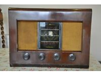 Vintage Bush AC11 Valve Radio Wood Case 1950s