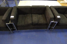 Child Size Black Fabric 2 Seater Settee in the style of Le Corbusier in Used Condition