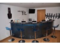 Retail counter or reception desk curved glass