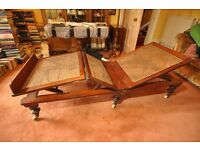 Antique hardwood lounger, adjustable for legs and back.