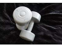 PAIR OF GREY V-FIT 3KG BUMB BELLS IN GOOD CONDITION