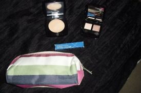 SELECTION OF NEW MAKE UP ITEMS WITH NEW MAKE UP BAG