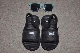 Baby boy toddler Everlast shoes sandals flip flops size 4 + sunglasses summer