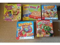 5 childrens games - cobra attack, kerplunk, whos who, buckaroo and gooey louie.