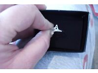 """NEW AVON SILVER PLATED ADJUSTABLE INITIAL """"A"""" RING IN GIFT BOX"""