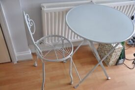 Lovely Oliver Bonas Egg Shell blue small table and matching chair
