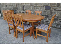 solid pine oval shaped extending pedestal dining table and 6 chairs