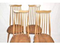 Set of 4 Vintage Retro 60's Ercol Windsor Goldsmith Chairs (model 369)