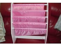 PINK LITTLE GIRLS BOOK STORAGE UNIT WITH 4 SECTIONS FOR BOOKS