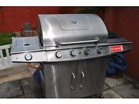 Barbecue grill four burner with side hob
