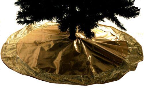 "Gold Ornante Modern Shiny Swirl Elegant Fancy Big Christmas Tree Skirt 48"" NEW"