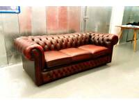 Oxblood Red 3 Seater Chesterfield Leather Sofa