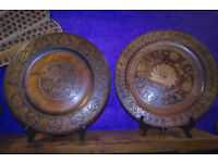 Pair of Colonial Carved Plates