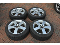 Alloy wheels with tyres for Saab/ Vauxhall. Wheels from Saab 9-5. Tyres 225/45 R17 - 7mm of tread.