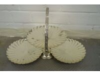 Three plate table decoration, shell design, chrome effect metal, centrepiece