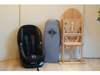 Wooden High Chair, Travel Cot and Car Seat Bundle