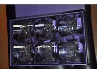 New in box, large Edinburgh Crystal whisky glasses in box.