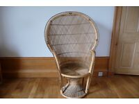 Vintage Peacock Wicker Chair