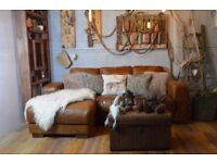 Vintage Distressed Leather Corner Sofa Couch Suite Tan