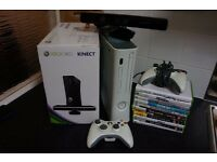 Microsoft Xbox 360 with 2 controllers lot of games and kinect cheap quick sell!