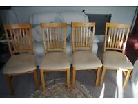 4 Oak Dining Room Chairs with Cream Suede Seat Cushions. Excellent, as new, condition.