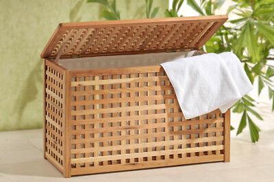 Wäschebox +Leinensack Walnuss Holz (Sackleinen Box)