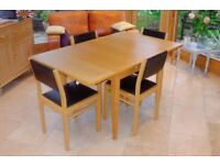 John Lewis Oak Extending Dining Table with 4 Solid Oak, faux Leather Chairs in lovely condition