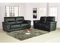 Kansas Leather Sofas 3+2 seaters available in Black or Brown