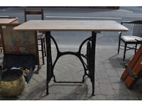 vintage cast iron singer treadle table solid oak counter top